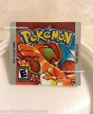Pokemon Red Version Cartridge Replacement Label Sticker on Nintendo Gameboy Game