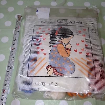 Vintage Retro SEG de Paris Tapestry Needlepoint Canvas – Little Girl Praying