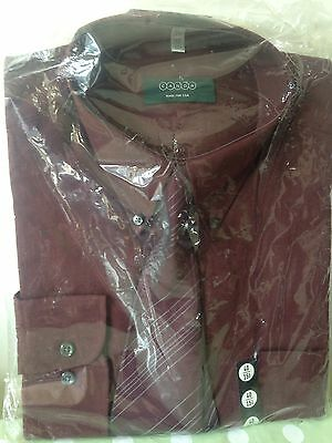 """Vintage NEW C&A CANDA Reddy Brown Collared Long Sleeve Retro Shirt and Tie 15.5"""""""