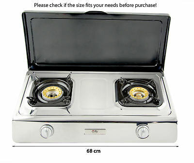 Gas Stove Cooker Lid 2 Burners Portable Camping Outdoor LPG 7.2kW WOK NGB2C NEW