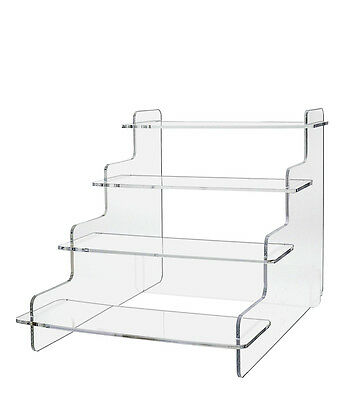 Pack of 12 Tiered Clear Acrylic Step Risers with 4 Platforms