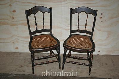 2 Antique Cane Seat Spindle Back Chairs Paint Accents 1800s - 2 ANTIQUE Cane Seat Spindle Back Chairs Paint Accents 1800s