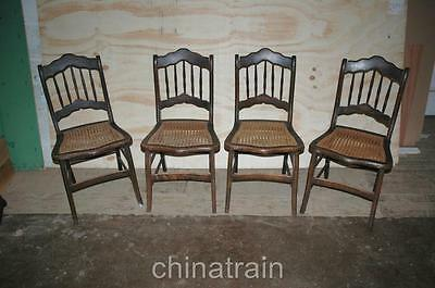 4 Antique Cane Seat Spindle Back Chairs Paint Accents 1800s