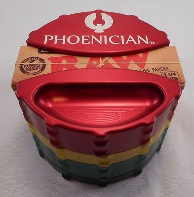 "Large 3.22"" Rasta Phoenician 4 Part Grinder with Paper Holder and Rubber Bumpers"