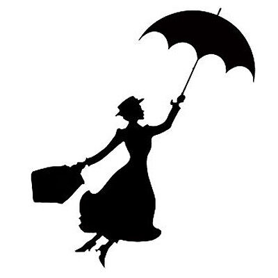 Mary Poppins Sticker Vinyl Decal Car Laptop Window Wall Decor Black / White