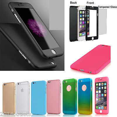 For iPhone 7 SE 6s 8 Plus 360 Full Hybrid Tempered Glass+Acrylic Hard Case Cover