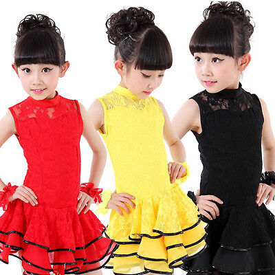 Girls Latin Salsa dance wear costumes Kids Sleeveless Ballroom dancing dress