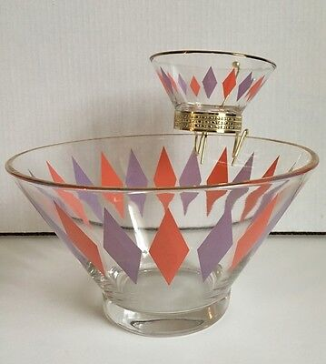 Vintage Mid Century Chip & Dip Glass Bowls Diamond Harlequin Pink Purple Retro