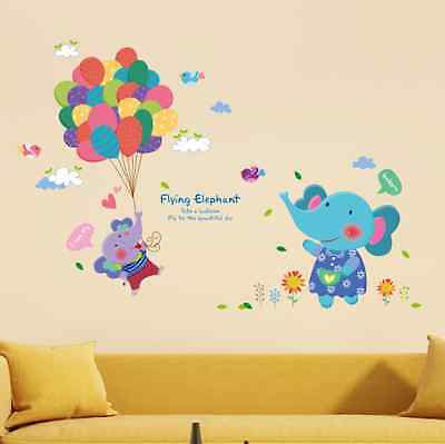 Elephant Balloon Removable Bedroom Baby Room Vinyl Wall Sticker Decal Home Decor