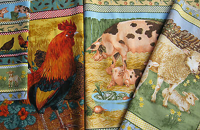 Fabric Picture Panel Quilt Cushion Wall Hanging Quality Fabric Pigs Ducks Sheep