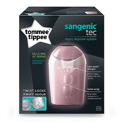 Tommee Tippee Sangenic Baby Nappy Disposal Tub Bin System Pink +Cassette