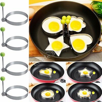 4x Stainless Steel Pancake Ring Mould Mold Cooking Fried Egg Shaper Kitchen Tool