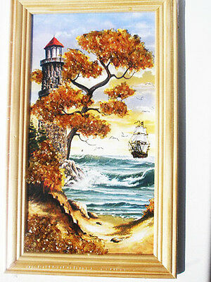 Baltic Sea Landscape Wood Framed Picture With Amber