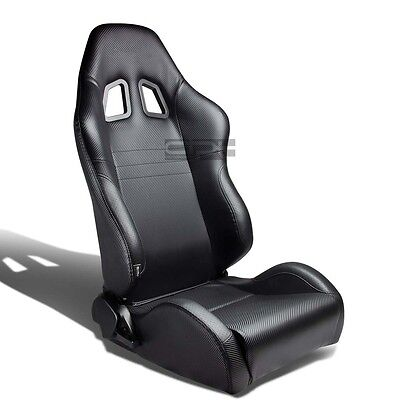 Carbon Look Pvc Leather Sports Racing Seats+Universal Sliders Passenger Side