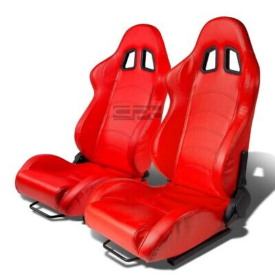 Red Pvc Leather Reclinable Sports Racing Seats+Universal Slider Rails Left+Right