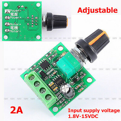 1Pcs DC 1.8v-15V Wide Voltage 2A PWM Pulse Width Speed Motor Controller Switch