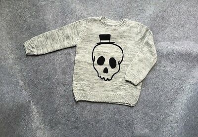 NEW Kids Toddler Boy SKULL Knit Sweater Pullover size 2/3/4/5/6/7/8/9/10/11/12