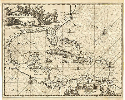 HJB-AntiqueMaps : 1671 Map of The Caribbean and the Gulf of Mexico by Ogilby