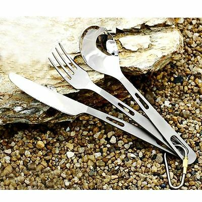 Set of 3pcs Titanium Cutlery Camping Hiking Knife Fork Spoon Ultralight Silver