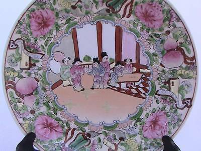 ANTIQUE 19thC.FAMILLE ROSE MANDARIN CANTON CHINESE EXPORT PORCELAIN PLATE/MARKED