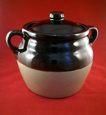 "bean crock, monmouth, with lid, 6"", 2qt, vintage"
