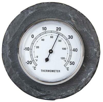 Outdoor Garden Thermometer in Slate Temperature Guage 10 cm