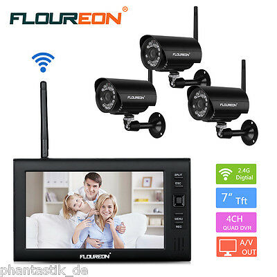 """Wireless Outdoor 2x CCTV Camera Night Vision Security System +7"""" 4CH Monitor DVR"""