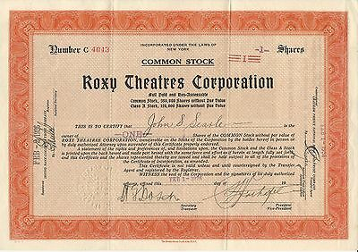 Roxy Theatres Corporation Common Stock Certificate, 1926