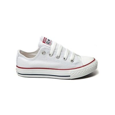 CONVERSE All Star Chuck Taylor Low Top WHITE YOUTH KIDS Unisex Canvas Sneakers
