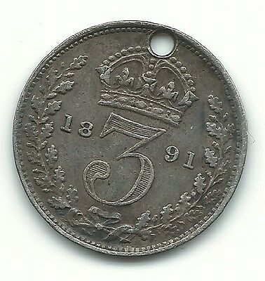 A Better Grade 1891 Great Britain Silver 3 Pence Coin-Hole In Coin-Apr227