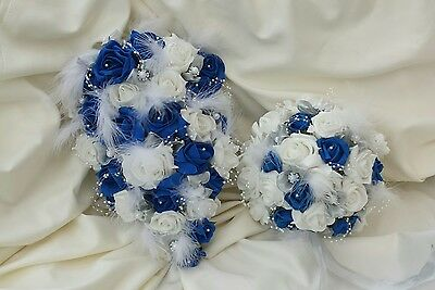 Blue and White wedding bouquet bridesmaid/ flowergirl/ buttonholes