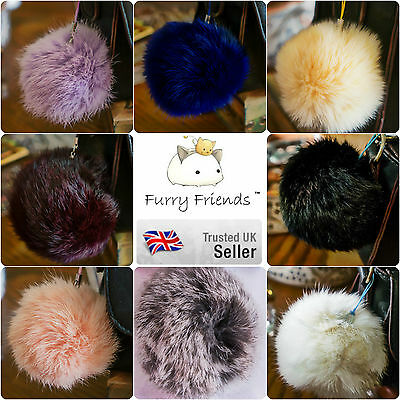 UK SELLER! 8cm Large REAL Fur Ball Pom Charm Handbag Phone Pendant Keyring Black