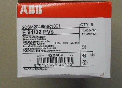 ABB New In Box of 6  E91/32 PVs 2CSM204693R1801 din rail fuse holder 32 amp