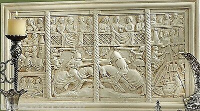 Ancient Medieval European Jousting On A Field Of Honor Bas-Relief Sculpture