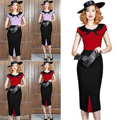 Rockabilly Retro Vintage Style 40's 50's Pin Up Wiggle Pencil Bow Tea Dress UK