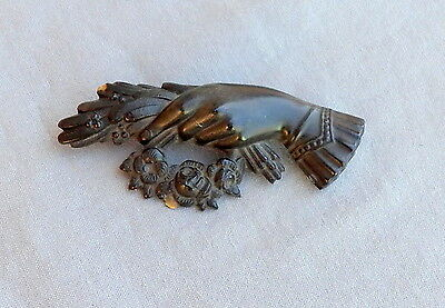 Vintage Antique Victorian Gutta Percha Hand w Flowers Mourning Brooch Pin