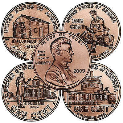 Four Coin Set Lincoln 2009 Pennies P Mint