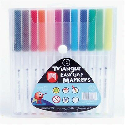 Micador Triangle Easy Grip Markers - 12 Pack  **new**