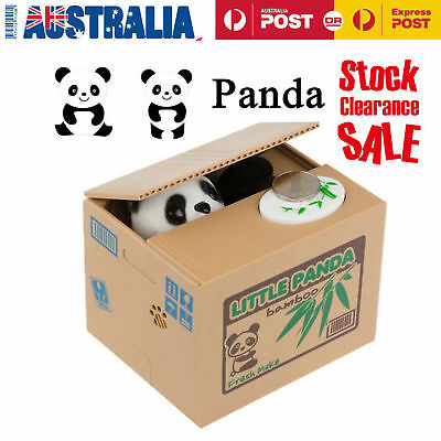 Lovely Kids Automated Panda Steal Coin Bank Money Saving Box Pot Case Gifts GT