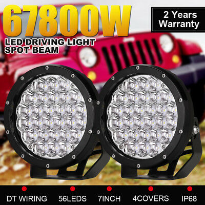 9inch 9180W Red Round Cree Led Driving Work Light spotlights Offroad 4WD vs HID