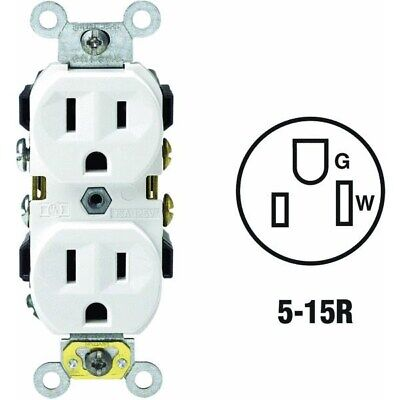 125V Grounded Duplex Outlet,No S02-CR15-0WS,  Leviton Mfg Co
