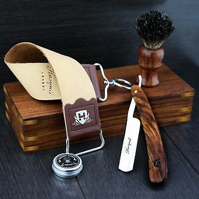 VINTAGE BARBER SALON STRAIGHT CUT THROAT SHAVING RAZOR Gift Set 5 Pc Luxury Kit