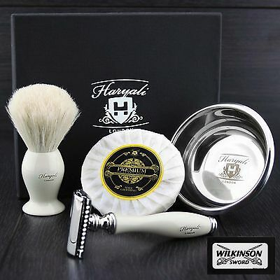 DOUBLE EDGE SAFETY RAZOR SHAVING KIT Badger Hair Shaving Brush 4 MEN GIFT SET