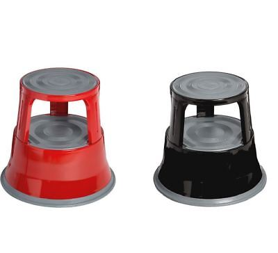 2 Tier Step Stool Steel Rubber Foot Kick Stool Black/Red Colour Glossy Finish