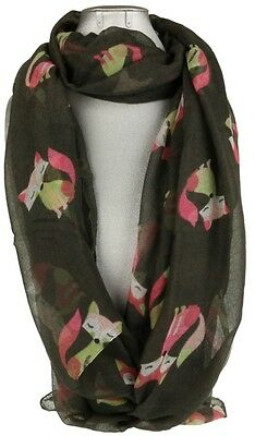 Womens Comic Fox Print Scarf Fox Forest Animals Cute Long Shawl Stole Wrap