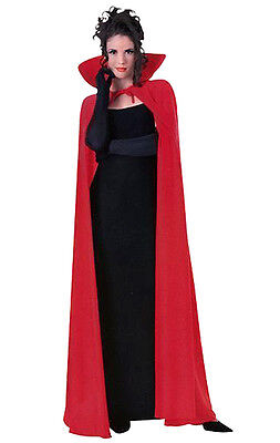 Mens Ladies Long Red Cape Cloak Vampire Dracula Costume Halloween  Xmas New 56In