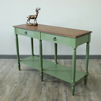 sage console wooden hallway storage shelves honey green table