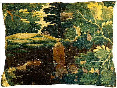 Antique Collectible 17th Century Verdure Tapestry Pillow (French)