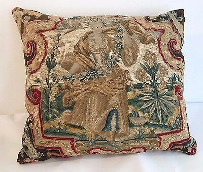 Antique Collectible 16th Century Needlepoint Tapestry Pillow