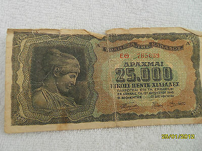 Greece 25,000 Drachmai-1943 Banknote